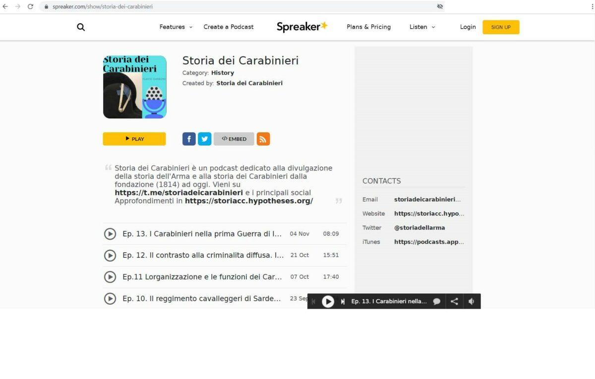 pagina del podcast sulla piattaforma Spreaker.com